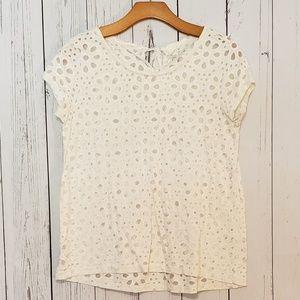 Loft White Floral Pattern Top T Shirt Keyhole XS